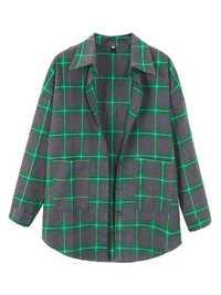 Letters Printing Plaid Pockets Long Sleeve Jackat