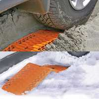 Rubber Car Snow Tires Grip Tracks Foldable Skid Plate Chain Universal Orange