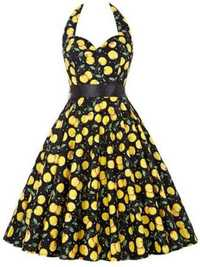 Hepburn Wind Women Vintage Floral Printed Halter Backless Swing Dress