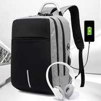 Men Anti Theft Luminous USB Charging Earphone Port Backpack
