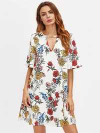 Bohemian Women Floral Print Short Sleeve Mini Dresses