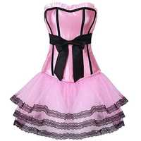 Women Sexy Slim Magic Bow-knot Pink Corset Bustier Set 3Pcs