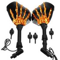 8mm 10mm Pair Skull Hand LED Turn Signal Motorcycle Mirrors For Harley Cruiser