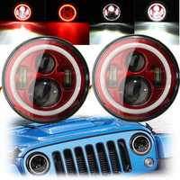 7Inch LED Hi-Lo Beam Headlights Halo Angle Eyes White DRL Red Turn Light 2Pcs for Wrangler