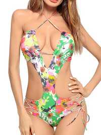 Halter One Piece Swimsuit Printing Strap Beach Bathing Suit