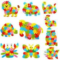 26Pcs Children Wooden Cute Animal Puzzle Jigsaw Alphabet KIds 3D Early DIY Letter Educational Leaf Ring Toys