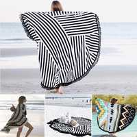 Honana WX-992 150cm Bohemian Style Thin Tassel Beach Towel Mandala Round Silk Scarf Bed Sheet Tapestry