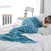 195x90cm Yarn Knitted Mermaid Tail Blankets Handmade Crochet Throw Super Soft Sofa Bed Mat