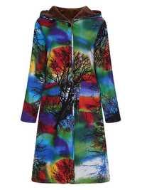 Printed Hooded Winter Coat