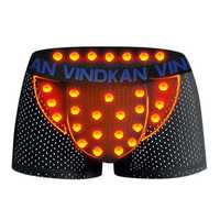 VK Mens Ice Silk Mesh Magnetic Therapy Health Care Underwear U Convex Pouch Breathable Boxers