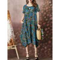O-NEWE Vintage Women Irregular Hem Short Sleeves Dress