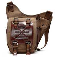 Men Canvas Retro Travel Cycling Crossbody Bag