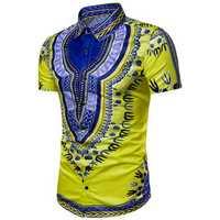 Ethnic Pattern Printing Chic Summer Lapel Shirts for Men