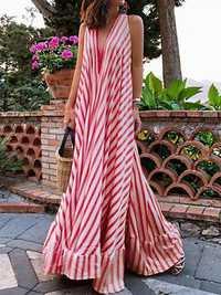 Women Straps Sleeveless V-neck Stripe A Line Long Maxi Dress