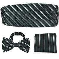 PenSee Mens Neckties Formal Stripe Pre-tied Bow Tie & Pocket Square & Cummerbund Set