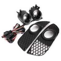 Pumper Grille Cover Trim+Fog Lights+Hook-up Wire Switch Kit for Mitsubish Lancer 08-14