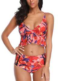 Ladies Split Mid Waist Strap Tight Bikini Suit