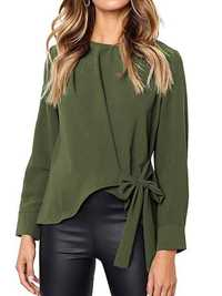 Women Elegant Solid Color Long Sleeve Bow-knot Blouse