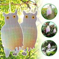 Garden Laser Reflective Fake Owl Supplies Hanging Reflective Owl Scarecrow Scares Bird Pigeons Woodpecker Repellent Birds