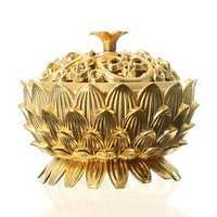 Lotus Flower Chinese Classical Tibetan Incense Burner Alloy Mini Sandalwood Censer