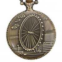 DEFFRUN Vintage London Eye Pattern Quartz Pocket Watch