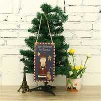 Wooden Christmas Hanging Pendants Christmas Santa Claus Deco for Christmas Home Decorations