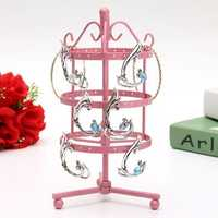 72 Holes Metal Round Shaped Jewelry Display Stand Holder Showcase
