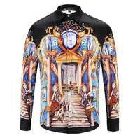 Mens Ethnic Style Digital Palace Printing Shirts