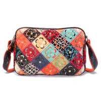 Women Genuine Leather Patchwork Flower Decorational Bag