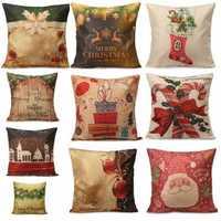 Christmas Series Santa Claus Gift Throw Pillow Case Home Sofa Car Cushion Cover