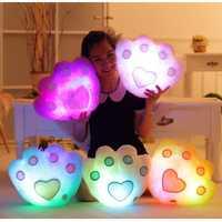 Plush Colorful LED Light Music Bear Paw Shape Throw Pillow Home Sofa Decor Festival Birthday Gift