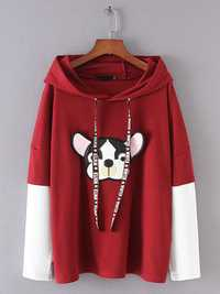 Plus Size Casual Women Dog Printed Hooded Sweatshirts