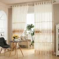 2 Panel White Jacquard Printed Sheer Tulle Curtains Bedroom Living Room Hollow Out Window Screening