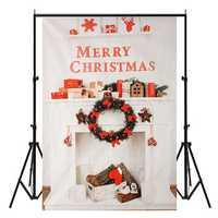 5x7FT Vinyl Merry Christmas Fireplace Photography Backdrop Background Studio Prop