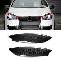 Pair Car Carbon Fiber Headlight Eyebrow Eyelid ABS Trim Cover for VW Golf GTI R MK5 05-07