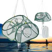 Automatic Foldable Fishing Net 5/9/17/21 Hole Aquatic Minnow Shrimp Cage Crab Trap Net Fishing Tools