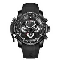 BREAK 5601 Multifunction Men Watch Military Style Rubber Strap Quartz Movement Watch