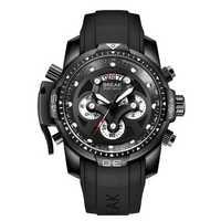 BREAK 5601 Multifunction Men Watch Military Style Rubber Strap Quartz Movement Watch