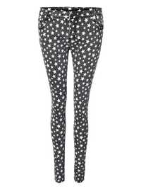 Five Stars Printed Narrow Pencil Tight Slim Trousers Pants