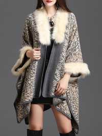 Leopard Faux Fur Collar Cloak