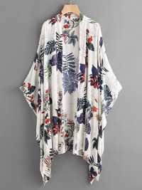 Floral Print Long Sleeve Irregular Hem Cardigans