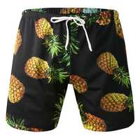 Pineapple Printing Beach Casual Sport Drawstring Board Short