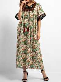 Boho Floral Print Short Sleeve Embroidery Long Dress