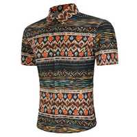Mens Summer Ethnic Style Printing Fashion Casual Fit Shirts
