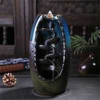 Porcelain Waterfall Backflow Ceramic Incense Burner Censer Holder Decor 10 Cones Office Home Decor
