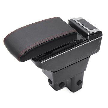 Black ABS Car Armrest Console Storage Box Organizer for Honda Fit Jazz 2009 2013