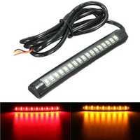 12V 17 LED Flexible Motorcycle Strip Light Tail Brake Stop Turn Sign Light Amber+Red