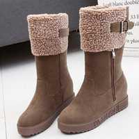 Buckle Zipper Warm Outdoor Platform Snow Boots