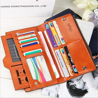 Women Oil Leather Ultrathin Wallet Muti Card Slots Purse