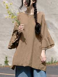 Women Cotton Casual Loose Round Neck Long Sleeve Blouse